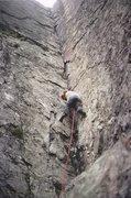 Rock Climbing Photo: Jim Perrin staring up the Corner 1970's. photo Pau...