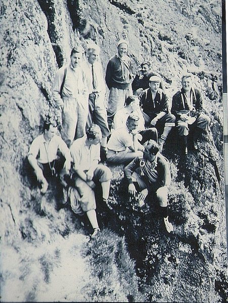 Historic Photo. About 1960 .Below Gimmer Crag. A visit by Russian Master of Sports hosted by the Fell and Rock Climbing Club.In the photo FRCC members  Ken Tarbuck, Dick Cook . Sid Cross ,Paul Ross, Jim Cameron,Dave Thomas and others