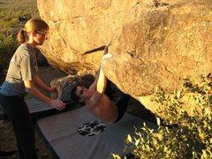 Rock Climbing Photo: Sarah and Natalie working the traverse