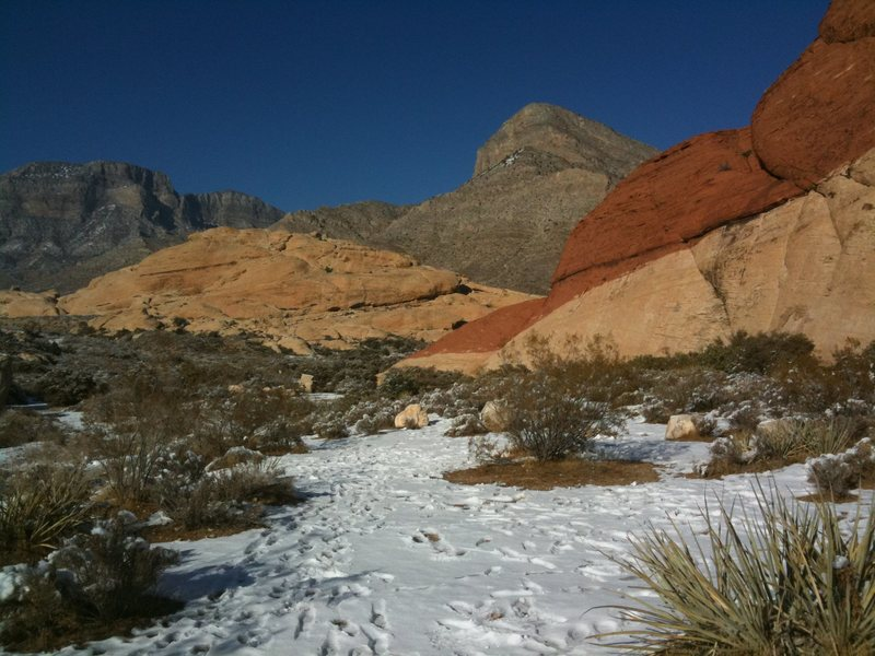 Rock Climbing Photo: December snow in Red Rocks leaves a lasting contra...