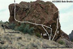 Rock Climbing Photo: Angela Boulder, West face Heart Shaped Box goes up...