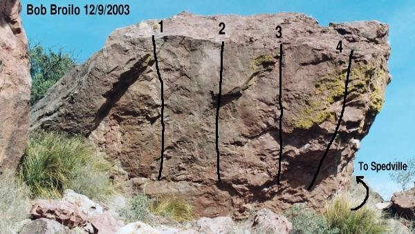 Girl Boulder - Southwest face (facing Chewbacca Cave)<br> 1 - Feeling Merry<br> 2 - Jump for Joy<br> 3 - Pinchin' Patti's Fatty<br> 4 - chossy unknown