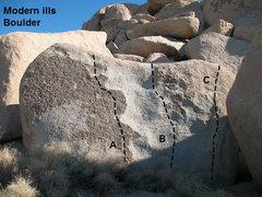Rock Climbing Photo: Photo/topo for the Modern Ills Boulder, Joshua Tre...