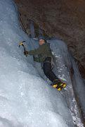 Rock Climbing Photo: Drew climbing the lower fall. Night time.