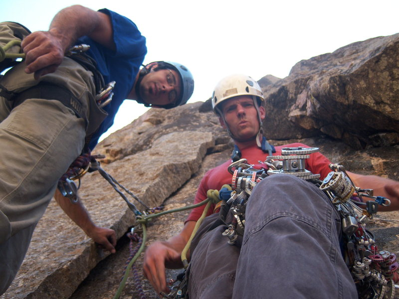 "The coolest 2 guys to have ever written lyrics to the award winning ""Rock Climbing Peanut"" song on the bivy ledge during a August climb up Astro Dog while eating salami and cajun trail mix, before beating 2 slow guys up Blackjack, and after sleeping late, getting lost on rappel and observing smoke from a nearby forest fire."