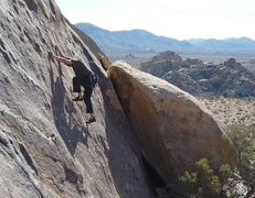 Rock Climbing Photo: Chris in the crux area of Rogue Robots (c) Scott N...
