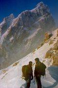 Rock Climbing Photo: Along the way, Teewinot to Owen, winter.
