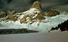 Rock Climbing Photo: Pingora across Lonesome Lake, Feb., 1980.