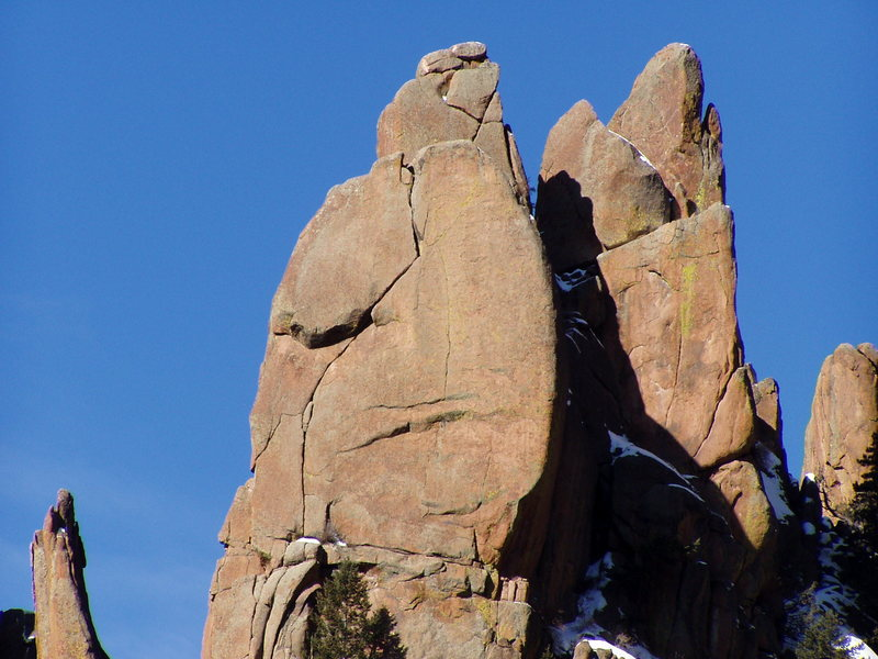 Rock Climbing Photo: Riders follows the faint seam splitting the face r...