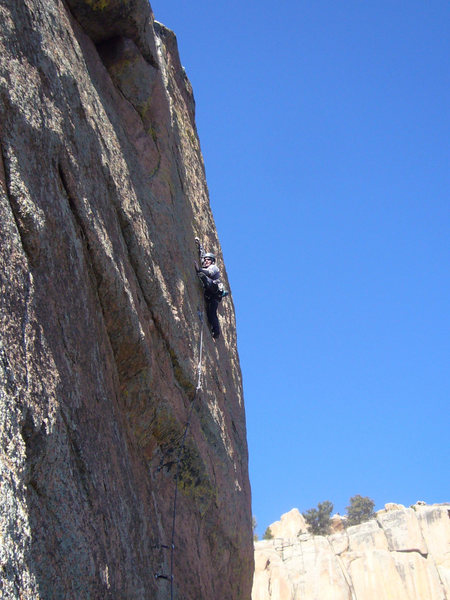 Rock Climbing Photo: Fighting through the thin upper face.