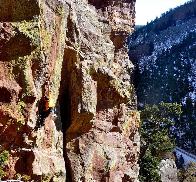 "Rock Climbing Photo: Josh sticking ""the move"" on Superfly."