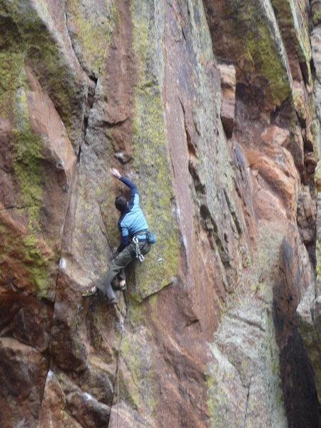 Rock Climbing Photo: Rob cruxing on Superfly.