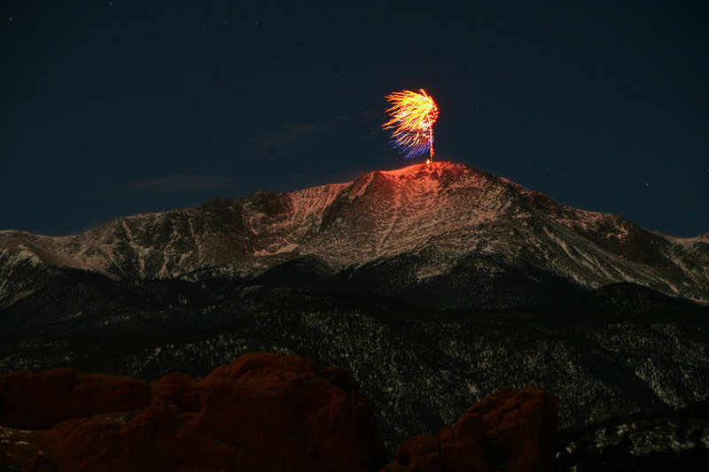 New Year at midnight under a full moon- Pike's Peak, Colorado