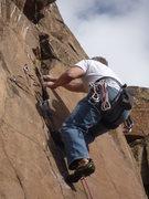 Rock Climbing Photo: In the crux near the third bolt.