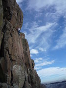 Rock Climbing Photo: At the ledge separating the two hard sections of c...