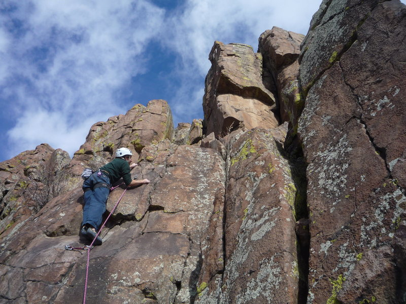 The start.<br> Glen Charnoski climbing.