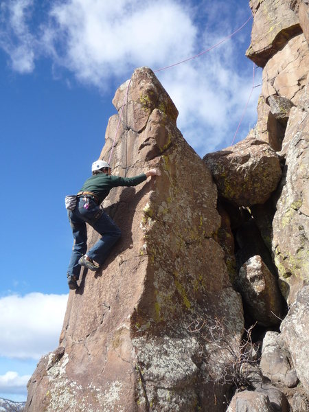 Rock Climbing Photo: Taking a top rope lap.  Notice, the notch for the ...