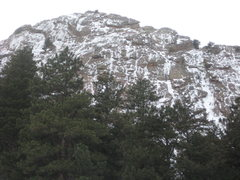 Rock Climbing Photo: View of east face of 1st Flatiron, 12/31/09.  Lots...