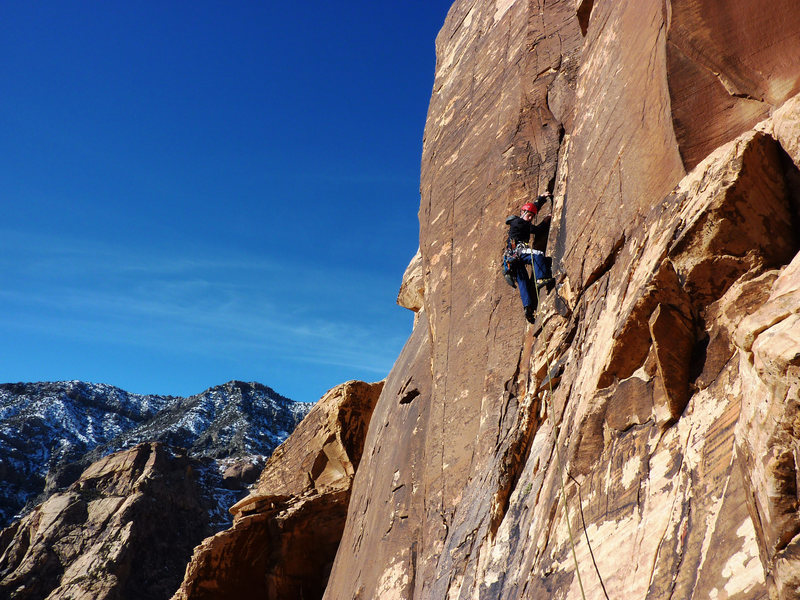 Launching up into the crack and corner of pitch 8 (SuperTopo). December 31, 2009.