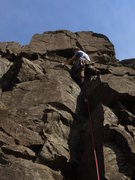 Rock Climbing Photo: Joel Saice looking strong on his first trad lead!