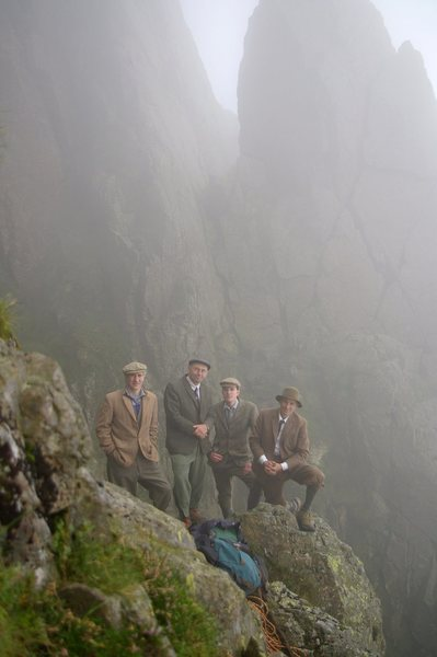 Ghosts from the past with the Needle. Here members of the Fell and Rock Climbing Club dress the part for the Hundredth anniversary of the first ascent of the Needle and its climbs by  Victorian climbers. Photo Ron Kenyon (second from left)