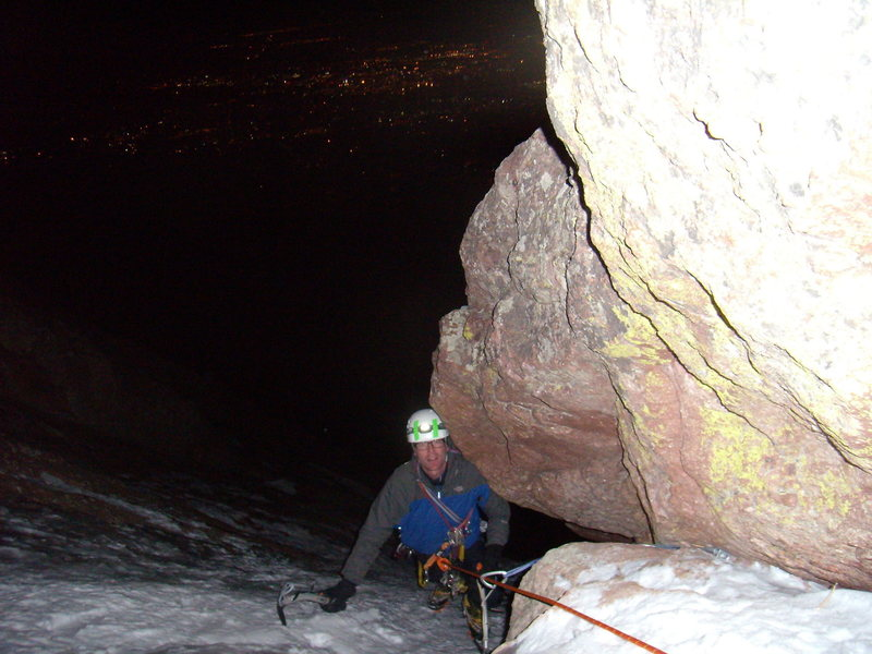 Rock Climbing Photo: Tony Maul New Years night 2010 .  Silk Road, Bould...