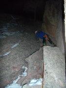 Rock Climbing Photo: Tony Maul on last pitch of Silk Road. New Years Ni...