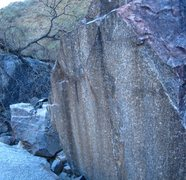Rock Climbing Photo: Hexagonal boulder with veestupid on the right.
