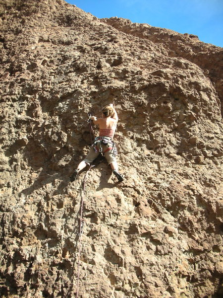 "Rock Climbing Photo: Christine leading ""Inspect Her Cool Soul,&quo..."