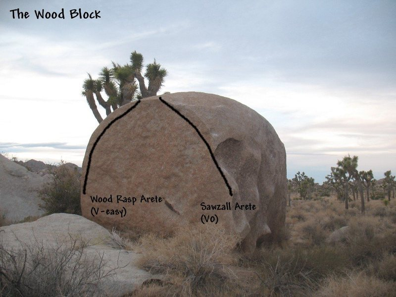 Photo/topo for The Wood Block (S. Face), Joshua Tree NP