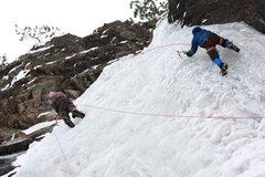 Rock Climbing Photo: Sam and Tater Tot P, Climbing on Bridalveil Falls....