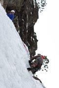 Rock Climbing Photo: Chris belaying Sam on the right side of Bridalveil...