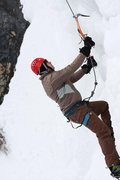 Rock Climbing Photo: Close up shot of Sam climbing steep ice on the lef...