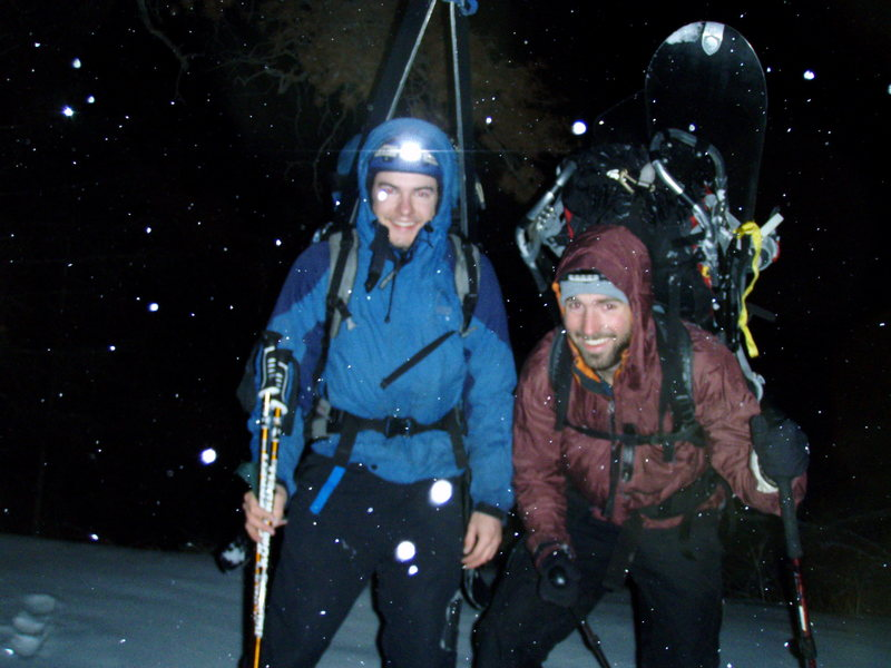 About an hour before midnight on New Years Eve hiking up Sacajaweya Peak just outside bozeman