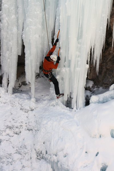 The crux of the route 2010. A short but steep section of thin, pillar ice.