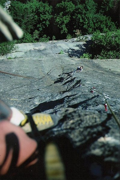 First Ascent Science Friction Wall. Looking down pitch four to Kim Smith. Photo Paul Ross.July 1978.
