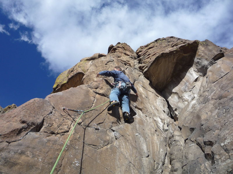 Rock Climbing Photo: Just below the crux at the third bolt.