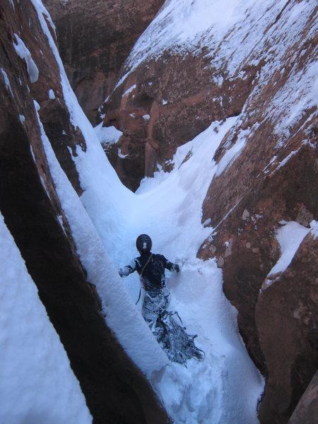 Dec 31, slot canyon snow bashing!