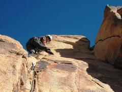 Rock Climbing Photo: The P girl contemplates the fun step across the sl...
