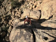 Rock Climbing Photo: Banks ready to top out Sgt. Saturn.