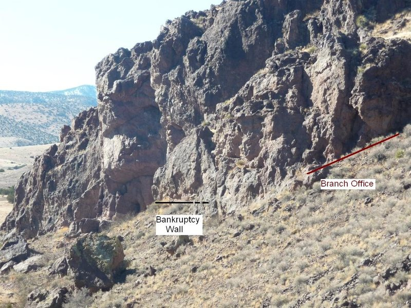 Picture of Bankruptcy Wall area taken from down the canyon at Red Wall.