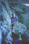 Rock Climbing Photo: Pete Armstrong arriving at the belay  of the first...
