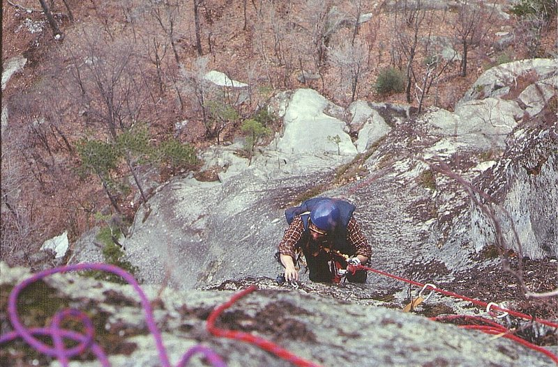 Hugh Thompson following the second pitch on the First Ascent April 1972. On Sight Ground up... Photo Paul Ross