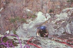 Rock Climbing Photo: Hugh Thompson following the second pitch on the Fi...