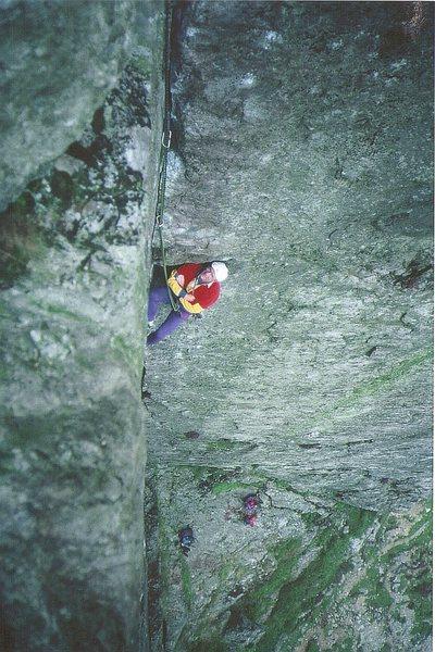 Rock Climbing Photo: Paul Ross relaxing  in the corner. 1970's