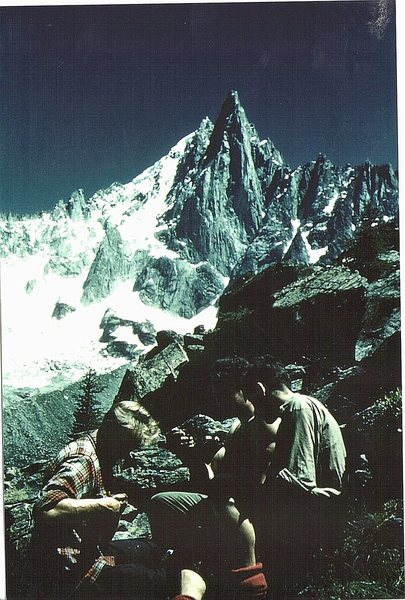 Historic photo.1958 Hamish McInnes , Walter Philip ,Ricardo Blanc ,preparing for an ascent of the Bonatti Pillar ,Aiguille du Dru