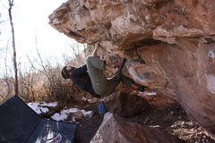 Rock Climbing Photo: Me getting ready for the V2 throw to the lip.