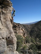 Rock Climbing Photo: Jimbo, pulling over the hump on Magnetopause