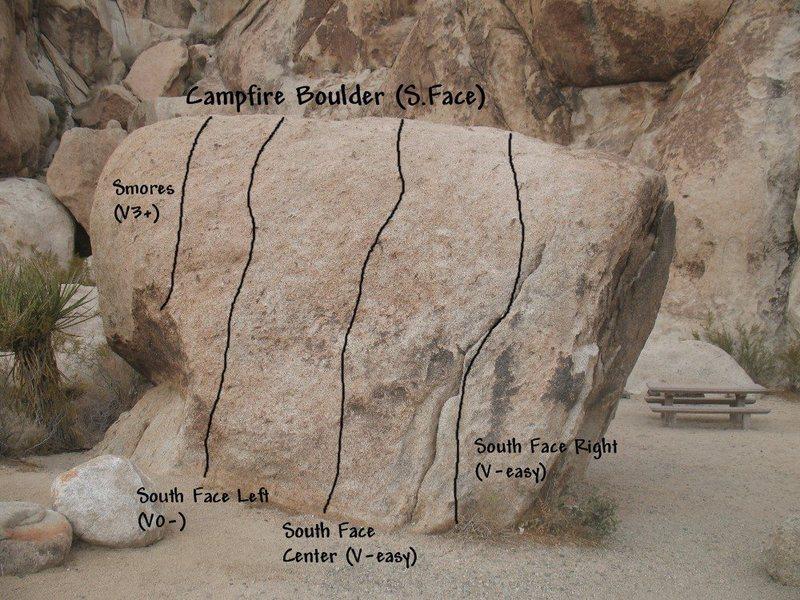 Photo/topo for Campfire Crag Boulder (S. Face), Joshua Tree NP