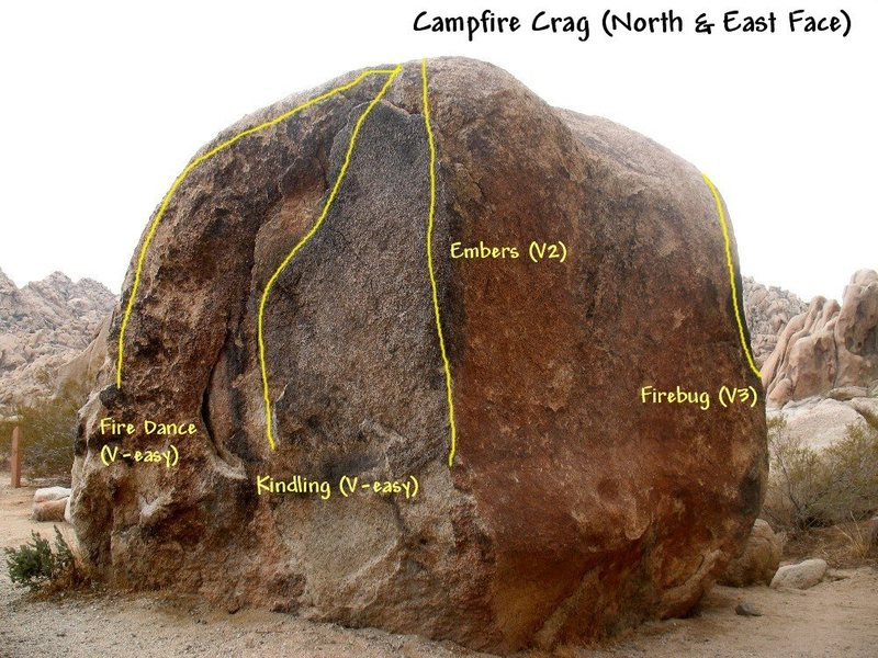 Photo/topo for the Campfire Crag Boulder (North & East Faces), Joshua Tree NP